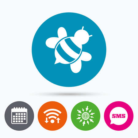 pollination: Wifi, Sms and calendar icons. Bee sign icon. Honeybee or apis with wings symbol. Flying insect diagonal. Go to web globe.