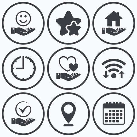 best shelter: Clock, wifi and stars icons. Smile and hand icon. Heart and Tick or Check symbol. Palm holds house building sign. Calendar symbol. Illustration