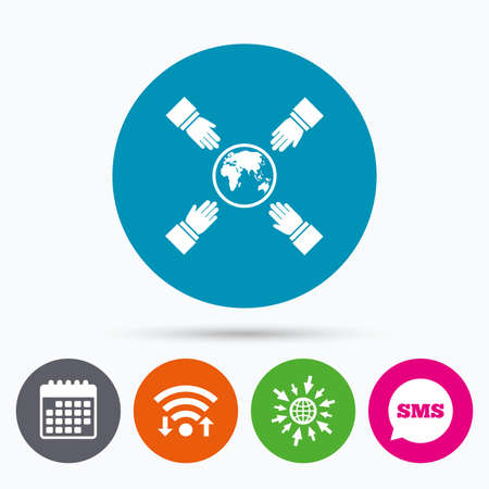 peace stamp: Wifi, Sms and calendar icons. Hands reach for earth sign icon. Save planet symbol. Go to web globe. Illustration