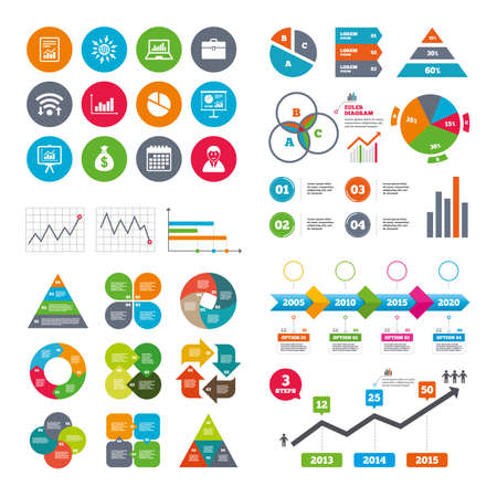 business case: Wifi, calendar and web icons. Statistics, accounting icons. Charts, presentation and pie chart signs. Analysis, report and business case symbols. Diagram charts design.