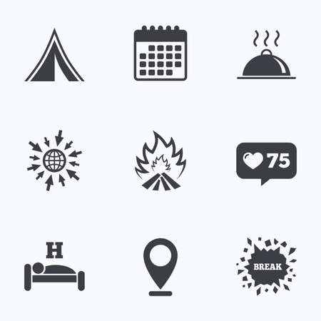 breakfast in bed: Calendar, like counter and go to web icons. Hot food, sleep, camping tent and fire icons. Hotel or bed and breakfast. Road signs. Location pointer. Illustration