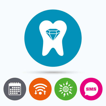 prestige: Wifi, Sms and calendar icons. Tooth crystal icon. Tooth jewellery sign. Dental prestige symbol. Go to web globe.