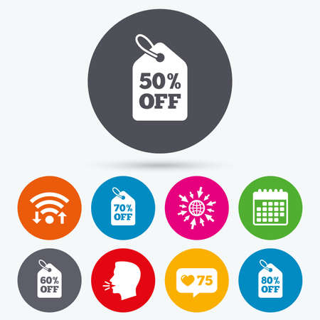 50 to 60: Wifi, like counter and calendar icons. Sale price tag icons. Discount special offer symbols. 50%, 60%, 70% and 80% percent off signs. Human talk, go to web.