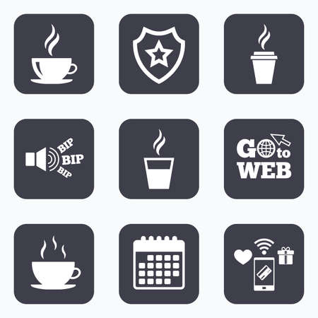 takeout: Mobile payments, wifi and calendar icons. Coffee cup icon. Hot drinks glasses symbols. Take away or take-out tea beverage signs. Go to web symbol.
