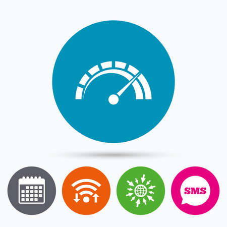 tachometer: Wifi, Sms and calendar icons. Tachometer sign icon. Revolution-counter symbol. Car speedometer performance. Go to web globe. Illustration
