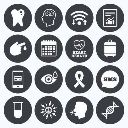 neurology: Wifi, calendar and mobile payments. Medicine, medical health and diagnosis icons. Blood test, dna and neurology signs. Tooth, report symbols. Sms speech bubble, go to web symbols.