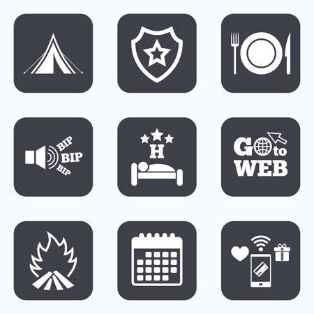 breakfast in bed: Mobile payments, wifi and calendar icons. Food, sleep, camping tent and fire icons. Knife, fork and dish. Hotel or bed and breakfast. Road signs. Go to web symbol.