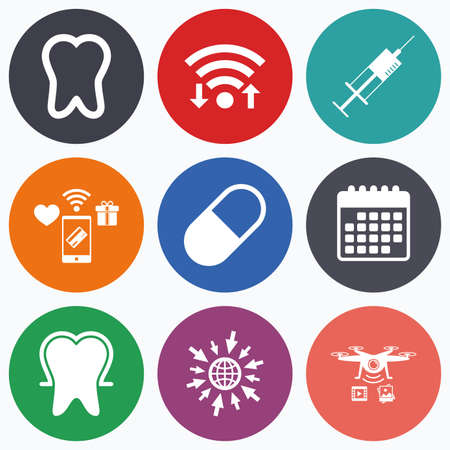 enamel: Wifi, mobile payments and drones icons. Tooth enamel protection icons. Medical syringe and pill signs. Medicine injection symbol. Calendar symbol.
