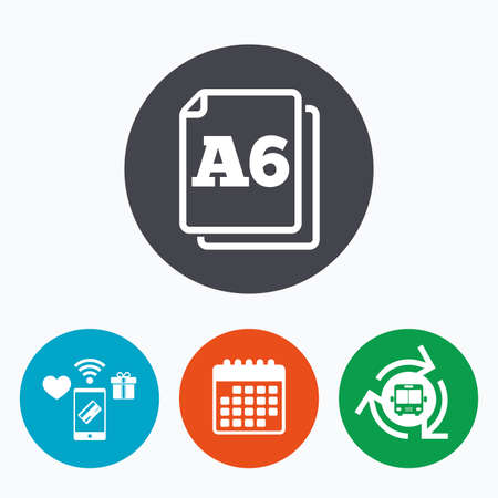 a6: Paper size A6 standard icon. File document symbol. Mobile payments, calendar and wifi icons. Bus shuttle.