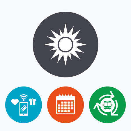 solarium: Sun sign icon. Solarium symbol. Heat button. Mobile payments, calendar and wifi icons. Bus shuttle.