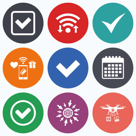 checkbox: Wifi, mobile payments and drones icons. Check icons. Checkbox confirm circle sign symbols. Calendar symbol. Illustration