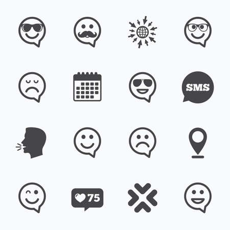 dismal: Calendar, go to web and like counter. Smile speech bubbles icons. Happy, sad and wink faces signs. Sunglasses, mustache and laughing lol smiley symbols. Sms speech bubble, talk symbols.