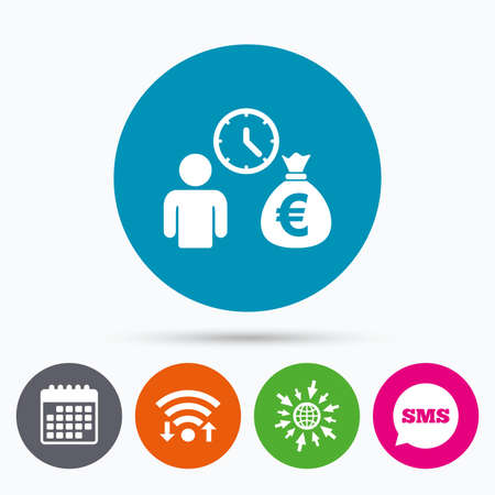 fast money: Wifi, Sms and calendar icons. Bank loans sign icon. Get money fast symbol. Borrow money. Go to web globe.