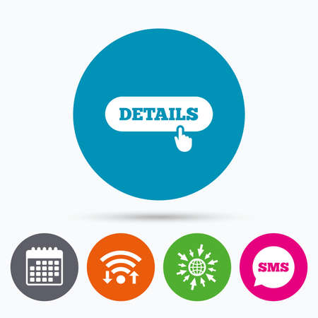 detail: Wifi, Sms and calendar icons. Details with hand pointer sign icon. More symbol. Website navigation. Go to web globe.