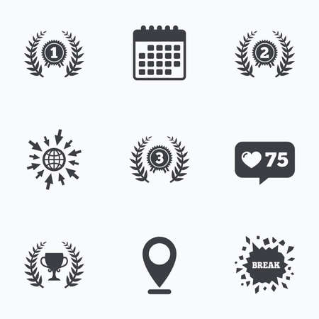 medal like: Calendar, like counter and go to web icons. Laurel wreath award icons. Prize cup for winner signs. First, second and third place medals symbols. Location pointer.
