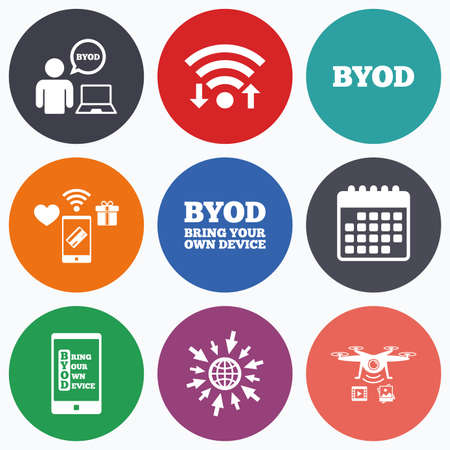 photo icon: Wifi, mobile payments and drones icons. BYOD icons. Human with notebook and smartphone signs. Speech bubble symbol. Calendar symbol. Illustration