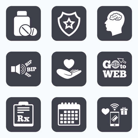 rx: Mobile payments, wifi and calendar icons. Medicine icons. Medical tablets bottle, head with brain, prescription Rx signs. Pharmacy or medicine symbol. Hand holds heart. Go to web symbol. Illustration