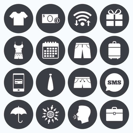 mobile accessories: Wifi, calendar and mobile payments. Clothing, accessories icons. T-shirt, business case signs. Umbrella and gift box symbols. Sms speech bubble, go to web symbols.