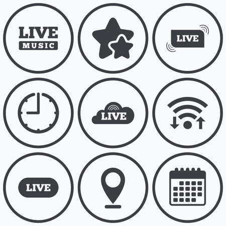 live on air: Clock, wifi and stars icons. Live music icons. Karaoke or On air stream symbols. Cloud sign. Calendar symbol. Illustration
