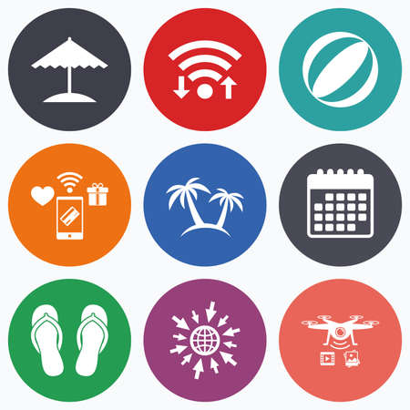 flipflops: Wifi, mobile payments and drones icons. Beach holidays icons. Ball, umbrella and flip-flops sandals signs. Palm trees symbol. Calendar symbol.
