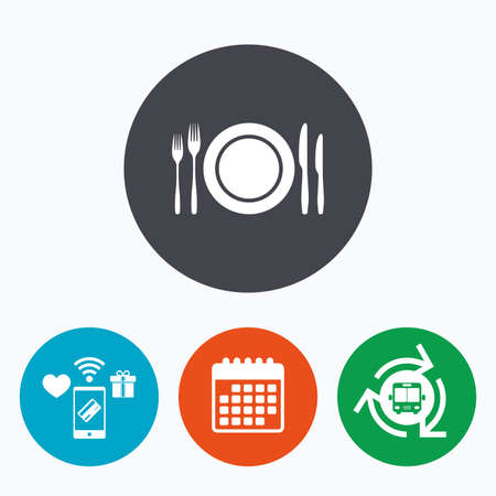 etiquette: Plate dish with forks and knifes. Eat sign icon. Cutlery etiquette rules symbol. Mobile payments, calendar and wifi icons. Bus shuttle. Illustration
