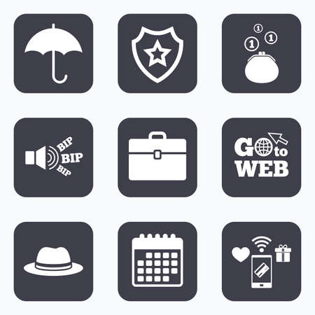 diplomat: Mobile payments, wifi and calendar icons. Clothing accessories icons. Umbrella and headdress hat signs. Wallet with cash coins, business case symbols. Go to web symbol.