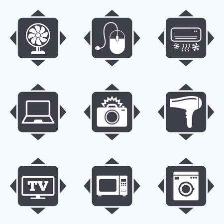 ventilator: Icons with direction arrows. Home appliances, device icons. Electronics signs. Air conditioning, washing machine and ventilator symbols. Square buttons. Illustration