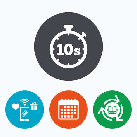 seconds: Timer 10 seconds sign icon. Stopwatch symbol. Mobile payments, calendar and wifi icons. Bus shuttle.