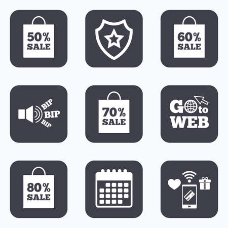 50 to 60: Mobile payments, wifi and calendar icons. Sale bag tag icons. Discount special offer symbols. 50%, 60%, 70% and 80% percent sale signs. Go to web symbol.