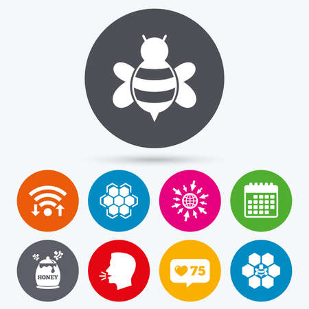 honeycomb like: Wifi, like counter and calendar icons. Honey icon. Honeycomb cells with bees symbol. Sweet natural food signs. Human talk, go to web.