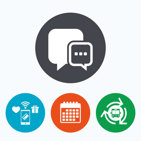 three dots: Chat sign icon. Speech bubble with three dots symbol. Communication chat bubble. Mobile payments, calendar and wifi icons. Bus shuttle. Illustration