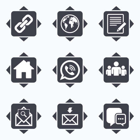 group direction: Icons with direction arrows. Communication icons. Contact, mail signs. E-mail, call phone and group symbols. Square buttons.