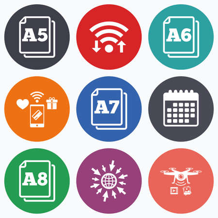 a7: Wifi, mobile payments and drones icons. Paper size standard icons. Document symbols. A5, A6, A7 and A8 page signs. Calendar symbol.