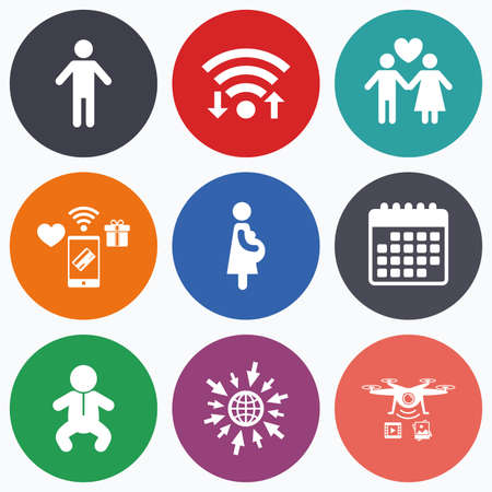 complete: Wifi, mobile payments and drones icons. Family lifetime icons. Couple love, pregnancy and birth of a child symbols. Human male person sign. Calendar symbol. Illustration