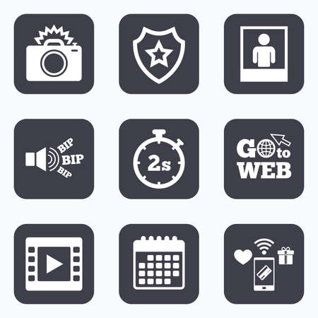 web 2: Mobile payments, wifi and calendar icons. Photo camera icon. Flash light and video frame symbols. Stopwatch timer 2 seconds sign. Human portrait photo frame. Go to web symbol.