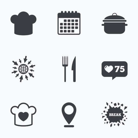 boil: Calendar, like counter and go to web icons. Chief hat and cooking pan icons. Fork and knife signs. Boil or stew food symbols. Location pointer.