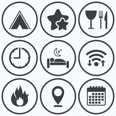 breakfast in bed: Clock, wifi and stars icons. Food, sleep, camping tent and fire icons. Knife, fork and wineglass. Hotel or bed and breakfast. Road signs. Calendar symbol.