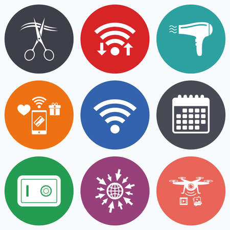 wi: Wifi, mobile payments and drones icons. Hotel services icons. Wi-fi, Hairdryer and deposit lock in room signs. Wireless Network. Hairdresser or barbershop symbol. Calendar symbol.