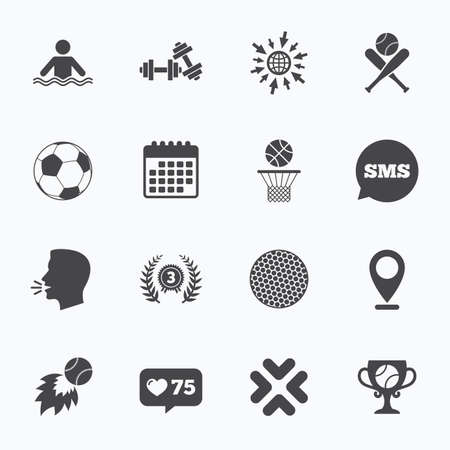medal like: Calendar, go to web and like counter. Sport games, fitness icons. Football, basketball and baseball signs. Swimming, fireball and winner cup symbols. Sms speech bubble, talk symbols.