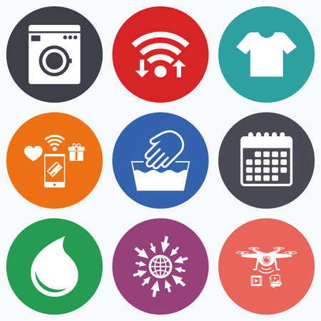 Wifi, mobile payments and drones icons. Wash machine icon. Hand wash. T-shirt clothes symbol. Laundry washhouse and water drop signs. Not machine washable. Calendar symbol. Illustration