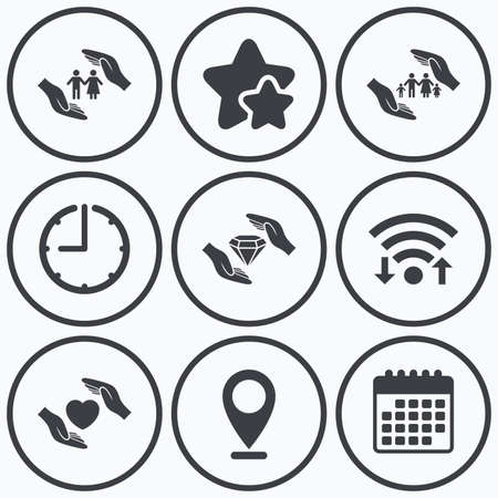 best shelter: Clock, wifi and stars icons. Hands insurance icons. Couple and family life insurance symbols. Heart health sign. Diamond jewelry symbol. Calendar symbol.
