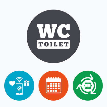 lavatory: WC Toilet sign icon. Restroom or lavatory symbol. Mobile payments, calendar and wifi icons. Bus shuttle.