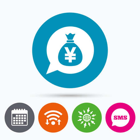 jpy: Wifi, Sms and calendar icons. Money bag sign icon. Yen JPY currency speech bubble symbol. Go to web globe.