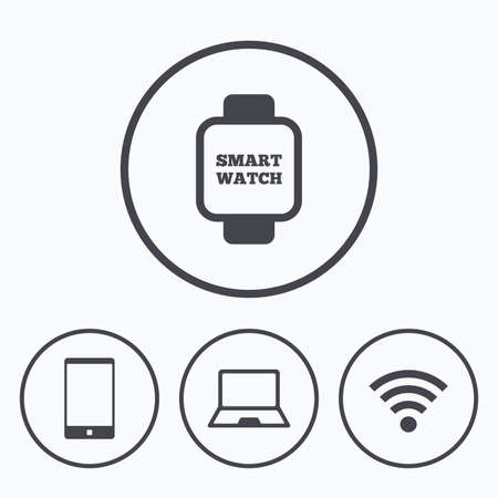 wi: Notebook and smartphone icons. Smart watch symbol. Wi-fi sign. Wireless Network symbol. Mobile devices. Icons in circles.