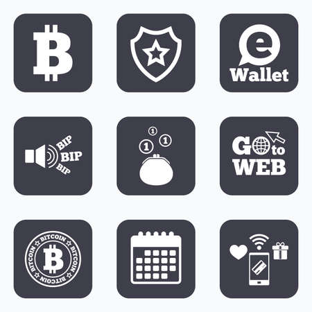 p2p: Mobile payments, wifi and calendar icons. Bitcoin icons. Electronic wallet sign. Cash money symbol. Go to web symbol.