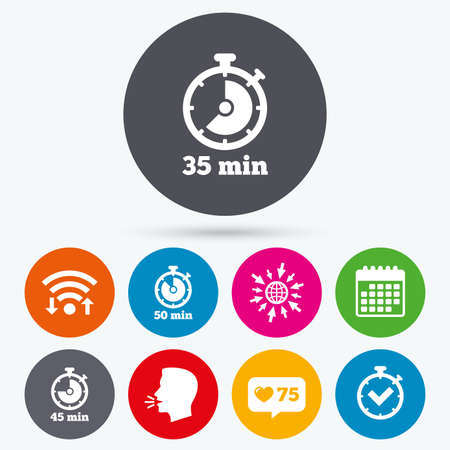 45 50: Wifi, like counter and calendar icons. Timer icons. 35, 45 and 50 minutes stopwatch symbols. Check or Tick mark. Human talk, go to web. Illustration