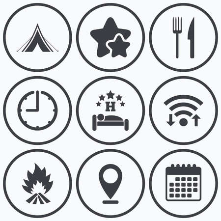 breakfast in bed: Clock, wifi and stars icons. Food, sleep, camping tent and fire icons. Knife and fork. Hotel or bed and breakfast. Road signs. Calendar symbol.