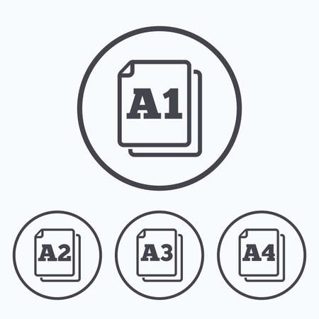 a1: Paper size standard icons. Document symbols. A1, A2, A3 and A4 page signs. Icons in circles.
