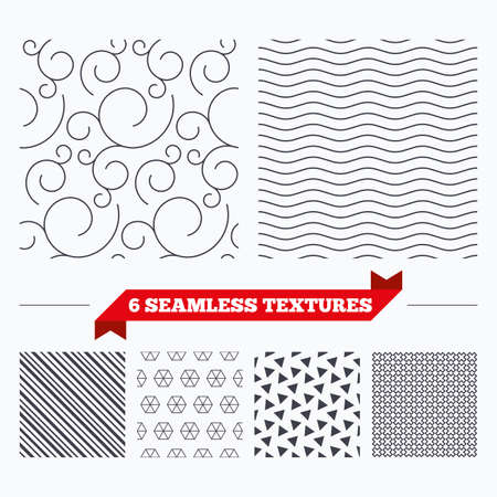 Diagonal lines, waves and geometry design. Floral ornate texture. Stripped geometric seamless pattern. Modern repeating stylish texture. Material patterns. Illustration