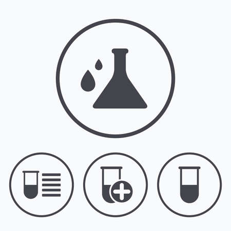 medical equipment: Chemistry bulb with drops icon. Medical test signs. Laboratory equipment symbols. Icons in circles.